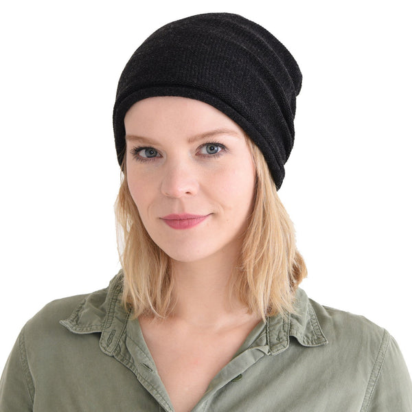 100% Cotton Big Size Beanie Black
