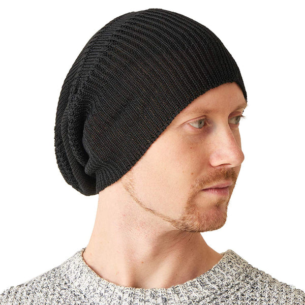 soft silk knit beanie for men and women black