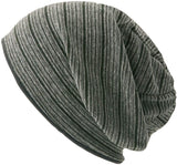 Slouchy 100% Organic Cotton Knit Beanie -  Soft Summer Stripe Chemo Hat Cap