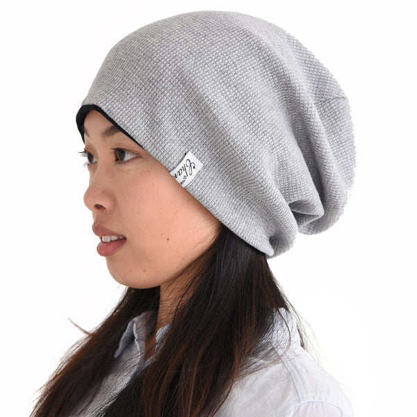 100% Cotton Big Size Beanie Light Gray