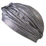 Metallic Turban Hat Silver
