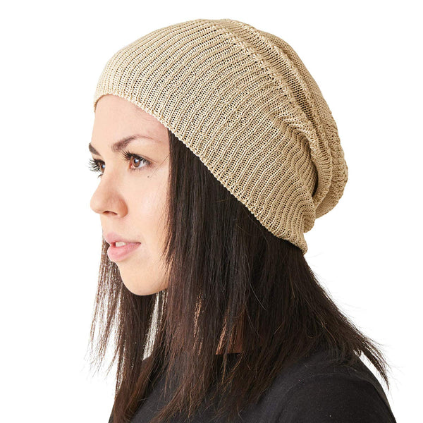 soft silk knit beanie for men and women beige