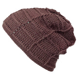 Casualbox Japan Womens Mens Ladies Unisex Gender Neutral Beanie Watch Cap Slouchy Slouch Baggy Oversized Crotcheted Crochet Dark Brown
