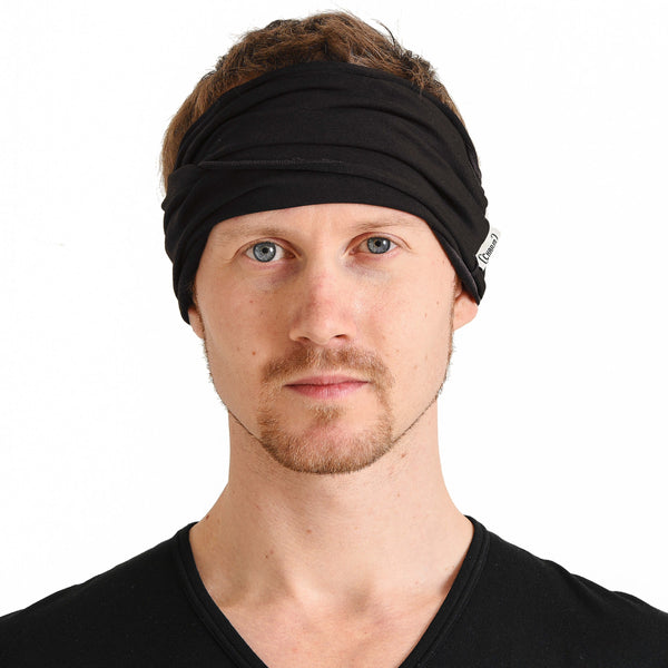Casualbox Japan Womens Mens Ladies Unisex Gender Neutral Hairband Headband Turban Bandana Yoga Fitness Gym Hair Band Head Black