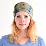 Casualbox Japan Tie-dye Tie-die Tye-Dye Headband Hairband Bandana Marble Pattern Mens Womens Ladies Unisex Handmade Yoga Boho Festival Dark Blue