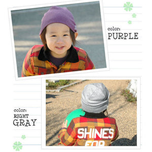 Slouchy 100% Organic Beanie for Kids Children Girls Boys Unisex Breathable Winter Autumn Purple Grey Gray