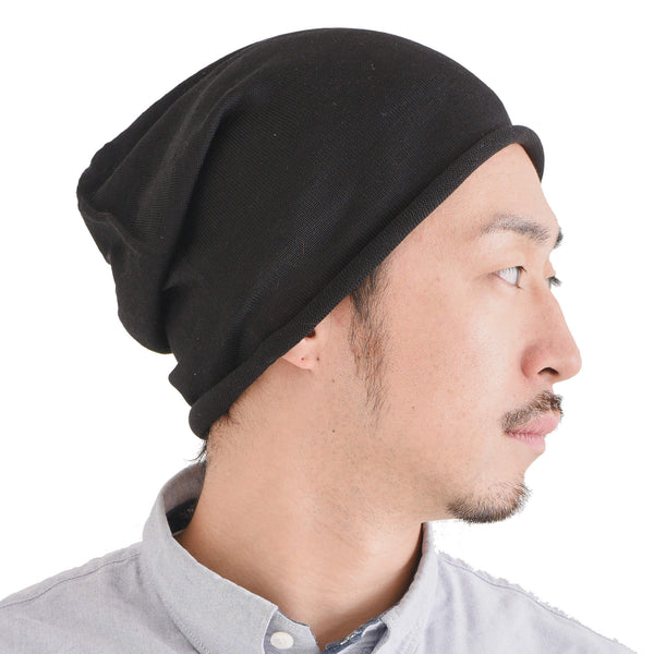 Casualbox Japan 100% Silk Beanie Watch Cap Hat Ladies Womens Women Mens Men Unisex Gender Neutral Black