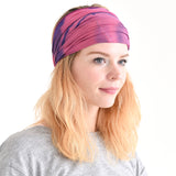 Casualbox Japan Tie-dye Tie-die Tye-Dye Headband Hairband Bandana Marble Pattern Mens Womens Ladies Unisex Handmade Yoga Boho Festival Purple Pink