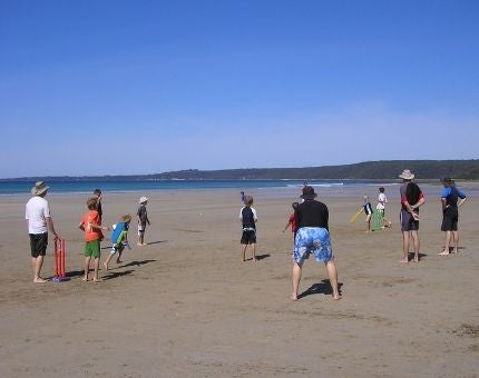 Families playing cricket on the beach