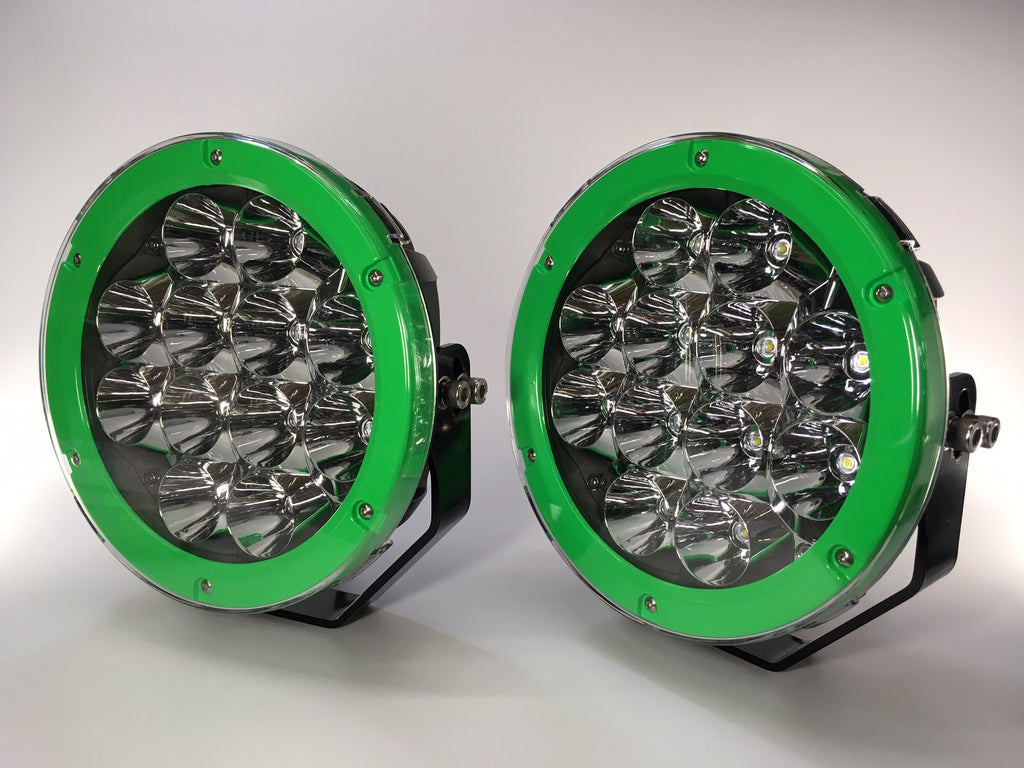 "ZDS-9XEG - Pair 'ZOMBIE ENVY GREEN"" 9"" Round LED Driving Lights - includes FREE Harness & Shipping"