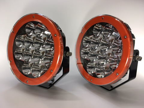 "ZDS-9XSO - Pair ""ZOMBIE SINNER ORANGE"" 9"" Round LED Driving Lights - includes FREE Harness & Shipping"