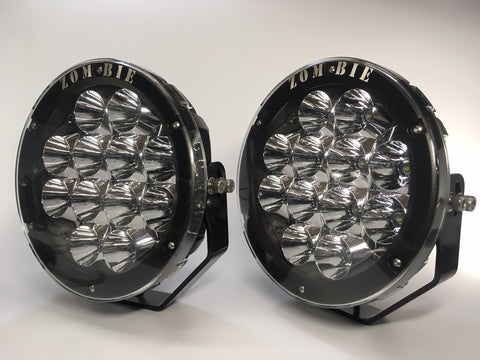 "ZDS-9XMB - Pair ""ZOMBIE MIDNIGHT BLACK"" 9"" Round LED Driving Lights - includes FREE Harness & Shipping"