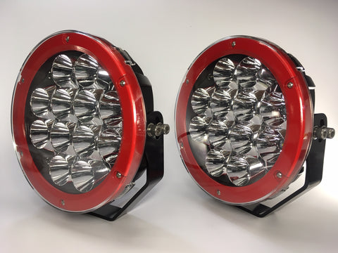 "ZDS-9XIR - Pair ""ZOMBIE INFERNO RED"" 9"" Round LED Driving Lights - includes FREE Harness & Shipping"