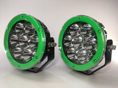 "ZDS-7XEG - Pair ""ZOMBIE ENVY GREEN"" 7"" Round LED Driving Lights - includes FREE Harness & Shipping"