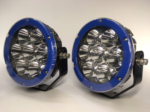 "ZDS-7XIB - Pair ""ZOMBIE INFINITY BLUE"" 7"" Round LED Driving Lights - includes FREE Harness & Shipping"