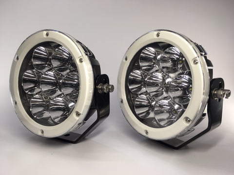 "ZDS-7XGW - Pair ""ZOMBIE GHOST WHITE"" 7"" Round LED Driving Lights - includes FREE Harness & Shipping"