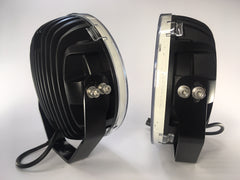 "ZDS-9XGW - Pair ""ZOMBIE GHOST WHITE"" 9"" Round LED Driving Lights - includes FREE Harness & Shipping"
