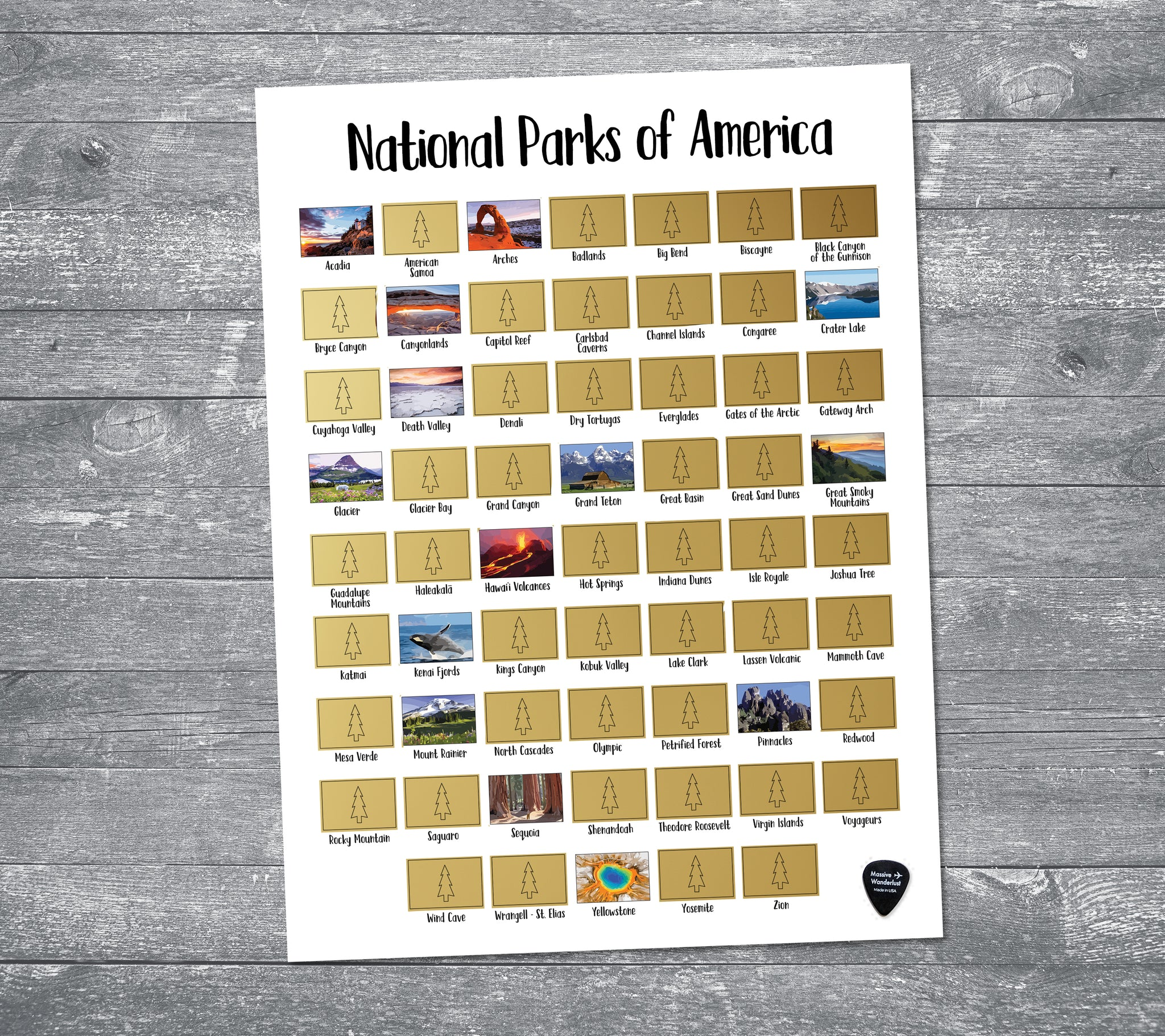 Scratch-off Map - US National Park List