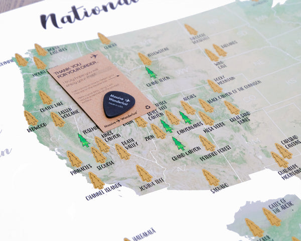 "Scratch-off your National Parks Adventures! - Golden Scratch-off surface  - Large size 17x23.5"" - Made in USA"