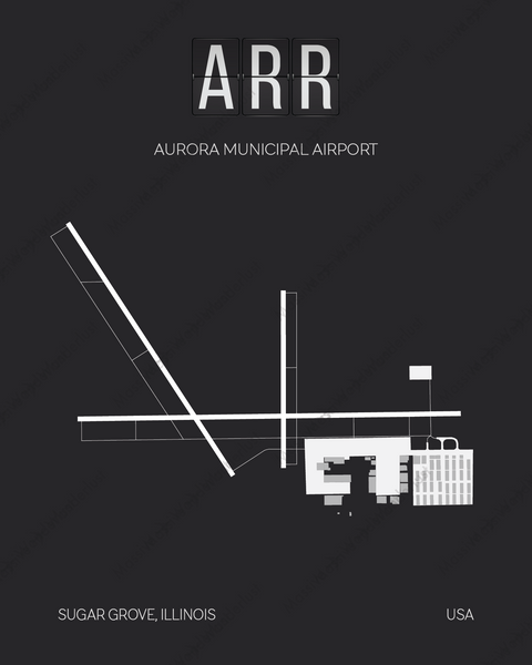 ARR Aurora Airport Print Map Wall Art