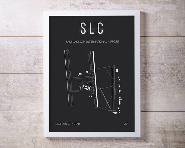 SLC Salt Lake City Airport Print Map Wall Art