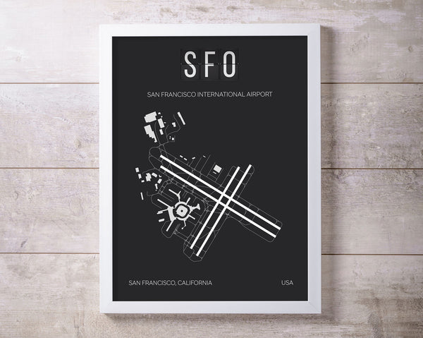 SFO San Francisco Airport Print Map Wall Art