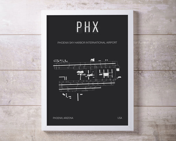 PHX Phoenix Sky Harbor Airport Print Map Wall Art