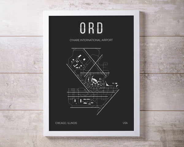 ORD Chicago O'Hare International Airport Print Map Wall Art