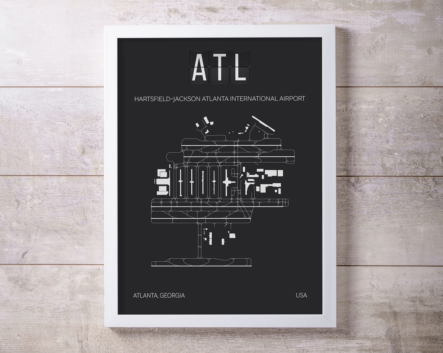 ATL Atlanta International Airport Print Map Wall Art