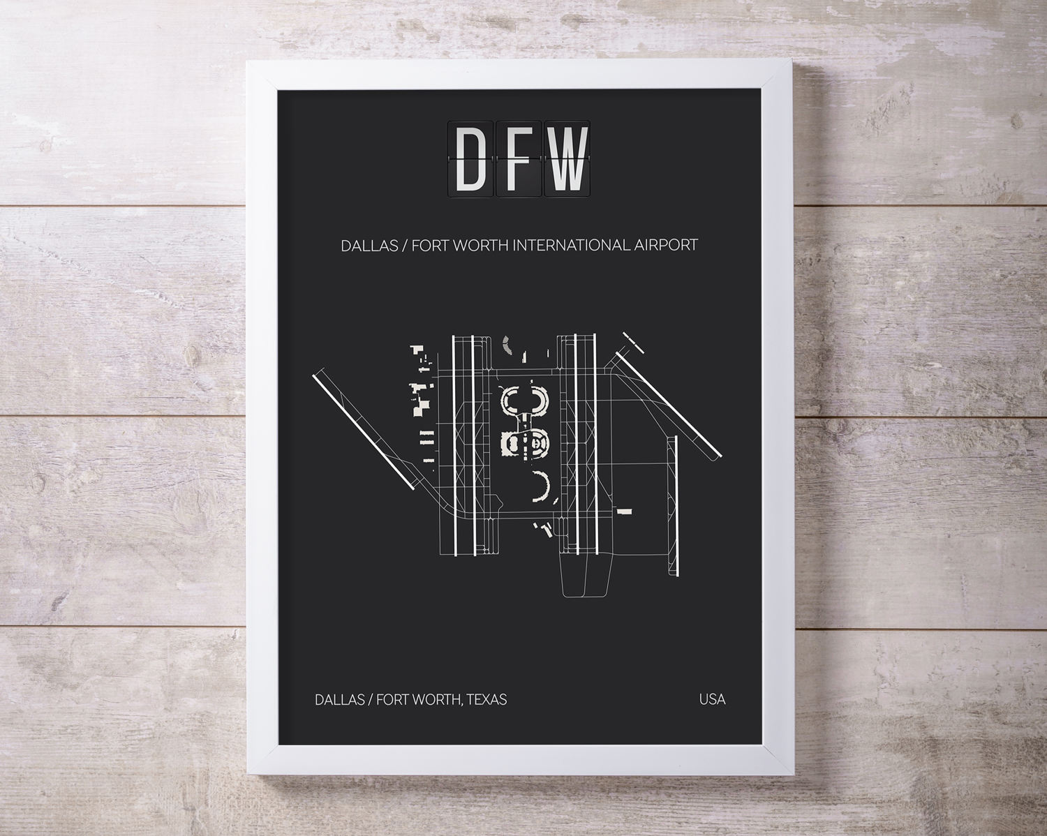 DFW Dallas Fort Worth International Airport Print Map Wall Art