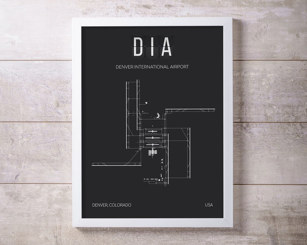 DIA Denver International Airport Print Map Wall Art