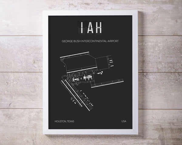 IAH Houston George Bush International Airport Print Map Wall Art