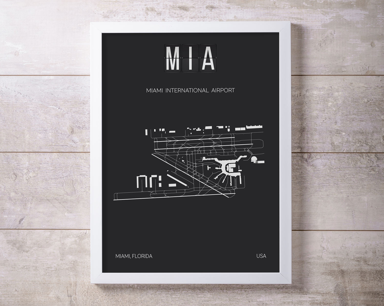 MIA Miami International Airport Print Map Wall Art