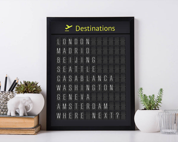 Digital-Only Destinations Airport Board, Personalized For You (with Thin Letters)