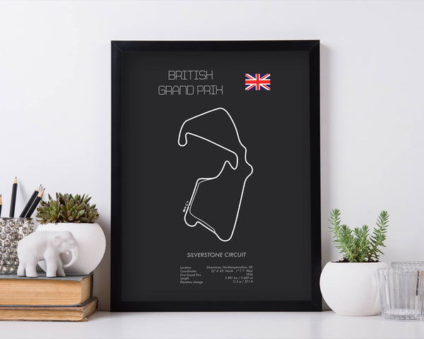 Formula One UK Grand Prix Silverstone Racing Map Wall Art Print