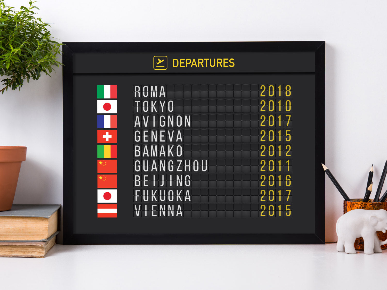 Digital-Only Personalized Airport Flight Board With Flags