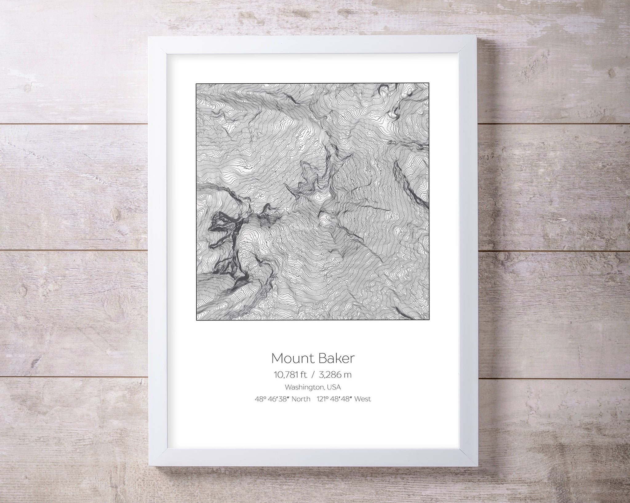 Mount Baker, Washington Topography Elevation Print Wall Art