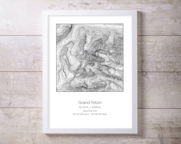 Grand Teton, Wyoming Topography Elevation Print Wall Art
