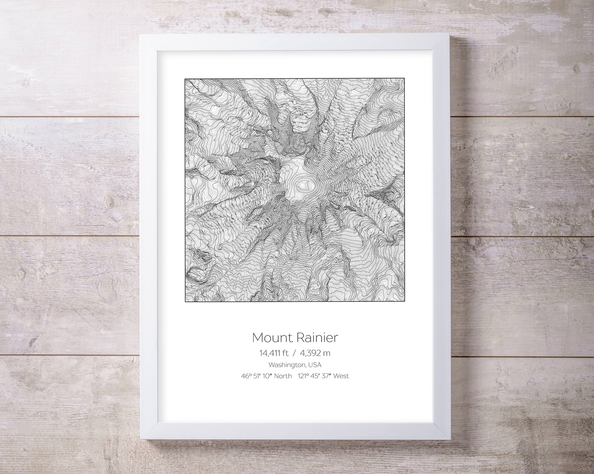 Mt Rainier, Washington, Elevation Topography Print Wall Art