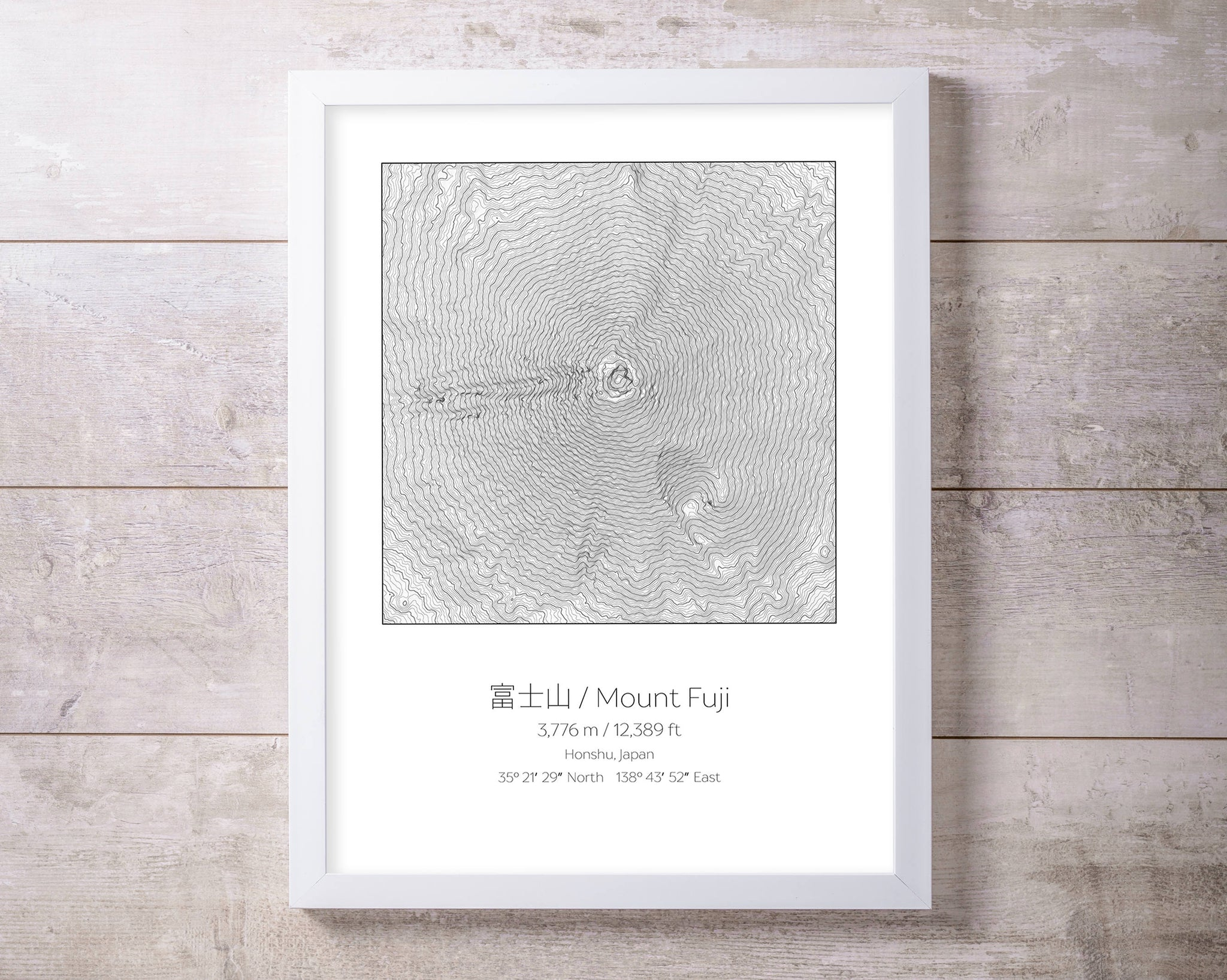 Mt Fuji, Japan Topography Elevation Print Wall Art