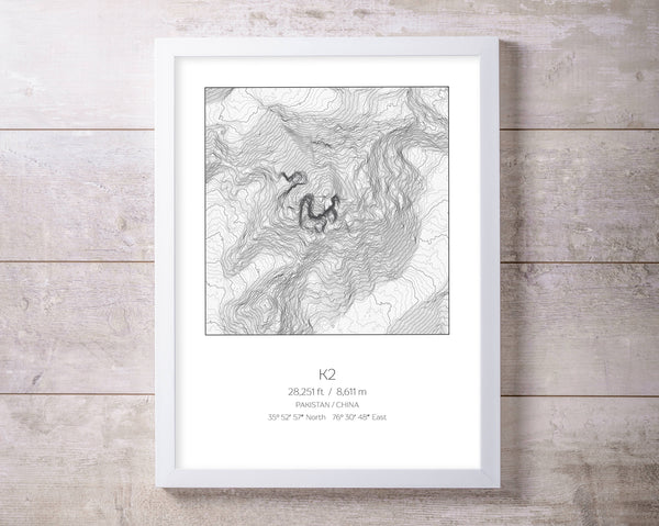 K2, Pakistan China Topography Elevation Print Wall Art