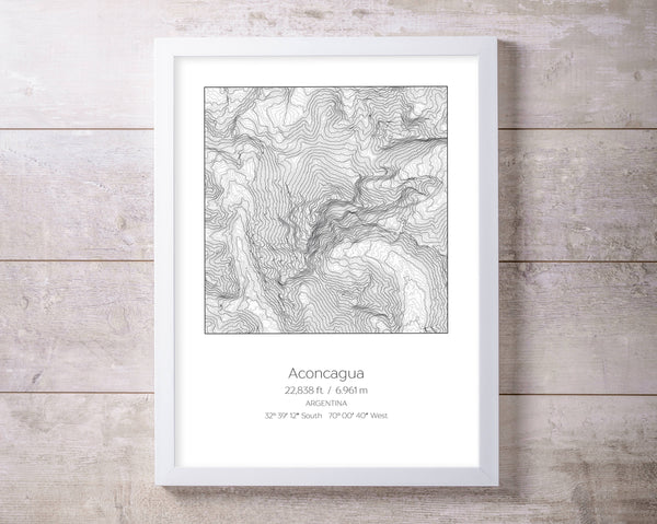 Aconcagua, Argentina Topography Elevation Print Wall Art