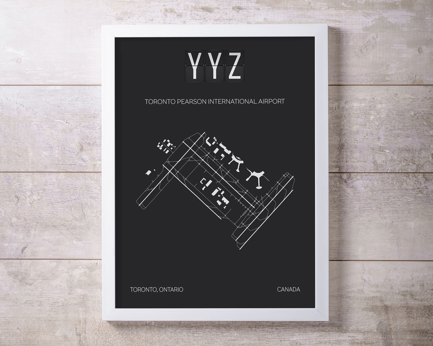 YYZ Toronto Pearson Airport Map Wall Art
