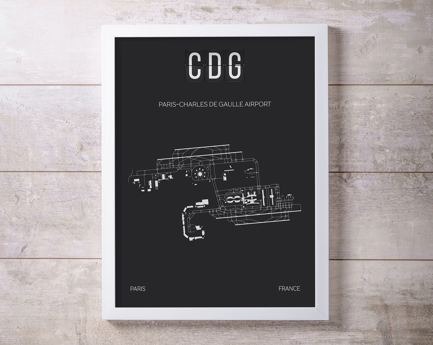 CDG Paris Charles De Gaulle Airport Print Map Wall Art