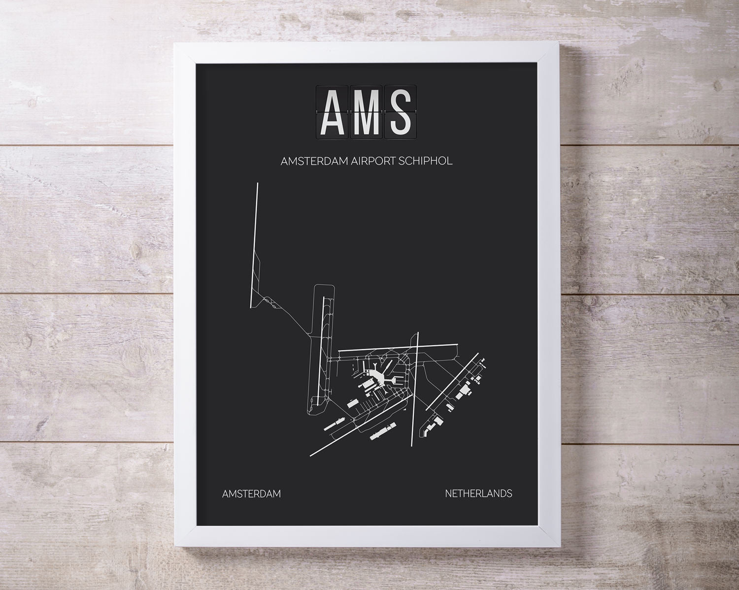 AMS Amsterdam Schiphol Airport Print Map Wall Art