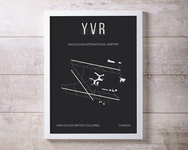 YVR Vancouver International Airport Print Map Wall Art