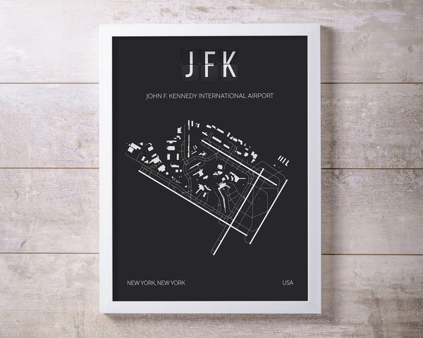 JFK John F. Kennedy New York Airport Print Map Wall Art