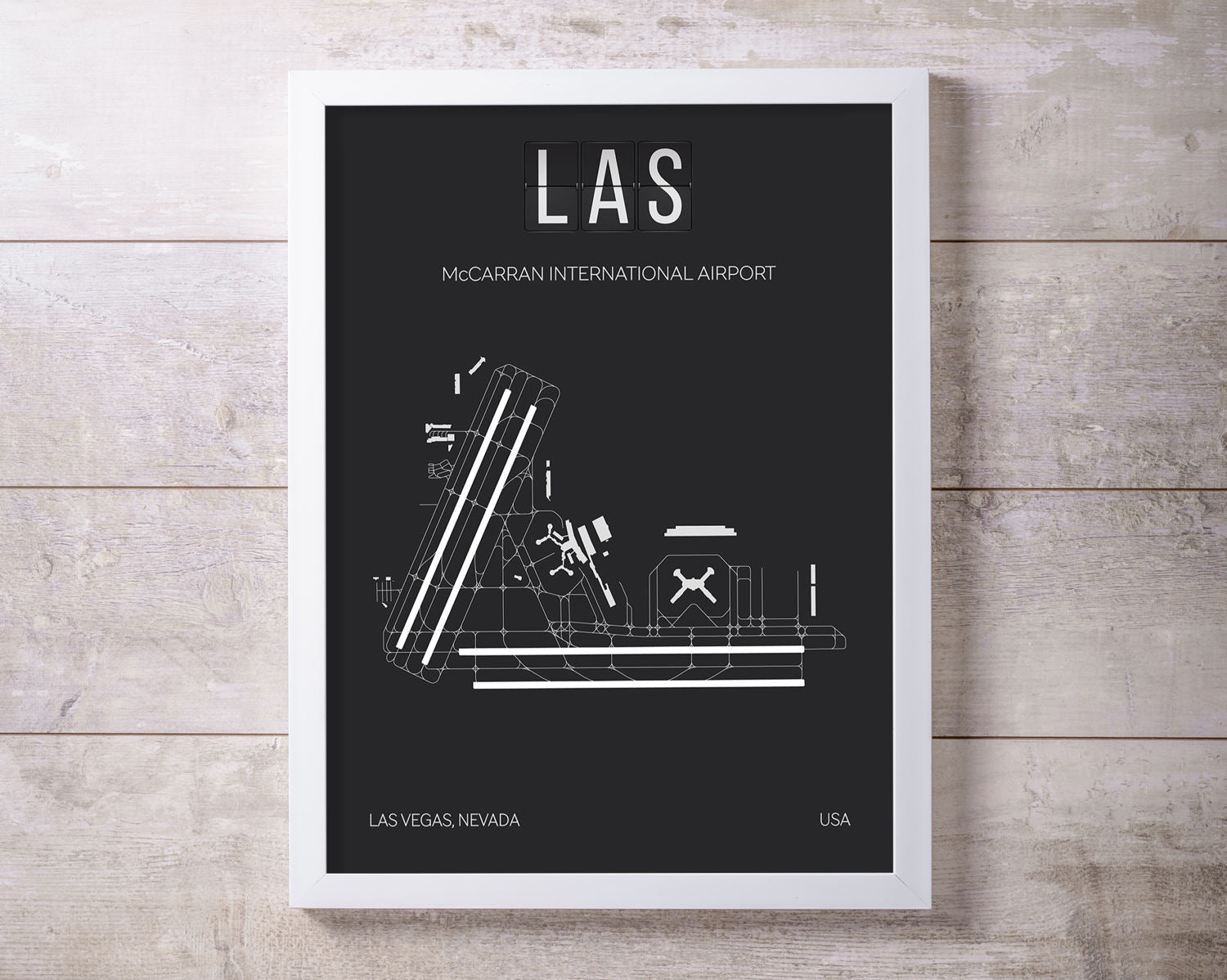 LAS Las Vegas McCarran International Airport Print Map Wall Art