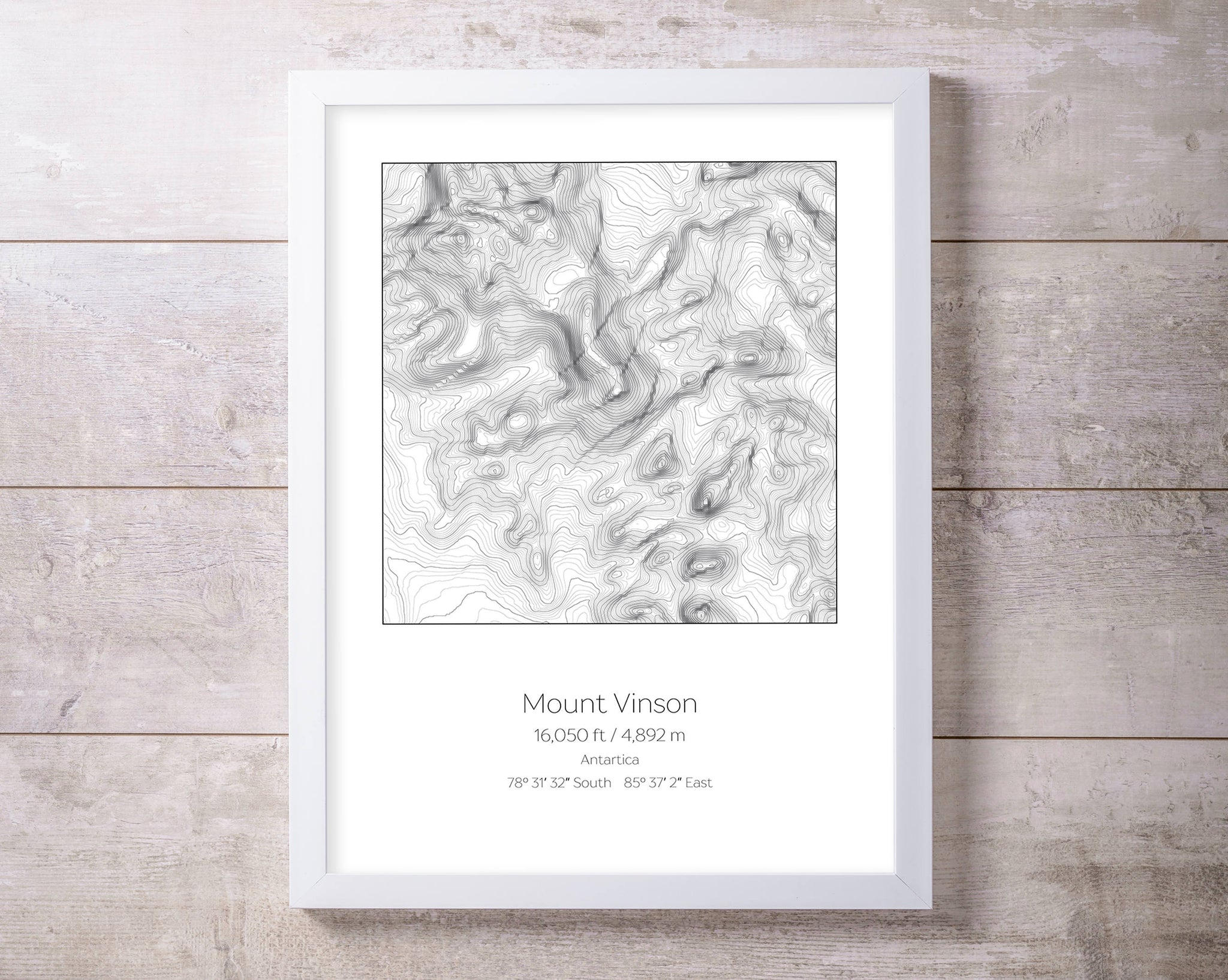 Mt Vinson, Antartica Topography Elevation Print Wall Art