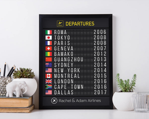 Airport Flight Board with Flags, Printed version